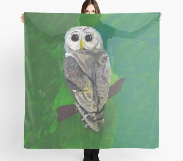 Owl scarf scanned from original painting